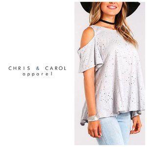CHRIS & CAROL Cold Shoulder Distressed T-Shirt